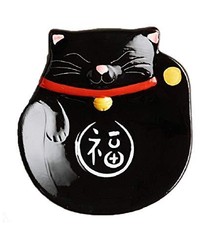 Discover Bargain Set of 2 - Black Happy Lucky Cat Maneki Neko Ceramic Tea Bag Rest Holder