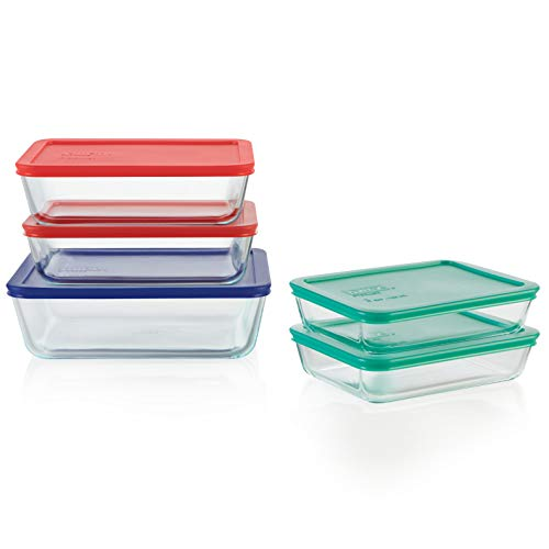Pyrex 1136617 Glass food storage set, 10-Piece (Pyrex 10 Piece Storage Set With Lid)