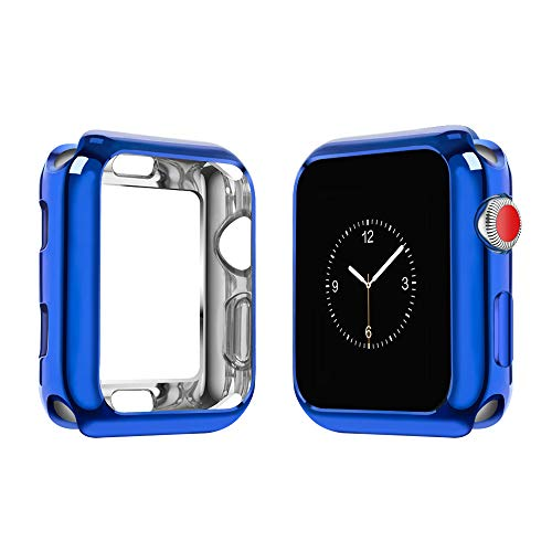 (top4cus Environmental Soft Flexible TPU Anti-Scratch Lightweight Protective 42mm Iwatch Case Compatible Apple Watch Series 4 Series 3 Series 2 Series 1 - Royal Blue)