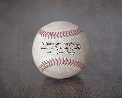 Baseball Photo with Father Quote, Unique Sports Home Decor Gift for Dad from Kids -