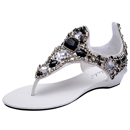 Odema Beaded Thong Summer Wedges Flat White Sandals Womens Bohemian Beach wrnrxFESB