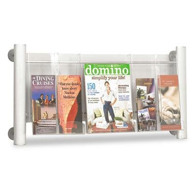 Safco - Luxe Magazine Rack Three Compartments 31-3/4W X 5D X 15-1/4H Clear/Silver ''Product Category: Office Furniture/Display Racks & Cases''