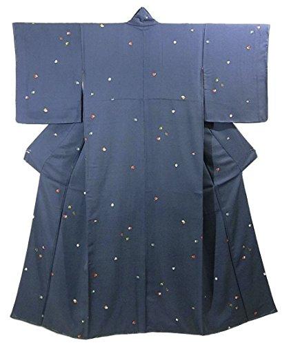 リサイクル 着物 小紋  ポップな蝶の文様 正絹 袷 裄61cm 身丈153cm