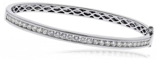 2CT Certified G/VS2 Round Brilliant Cut Channel Set Diamond Bangle in 18K White Gold