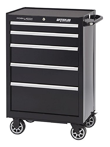 Waterloo Professional Series 5-Drawer Rolling Tool Cabinet with Internal Tubular Keyed Locking System, Black Finish, 26'' W by Waterloo