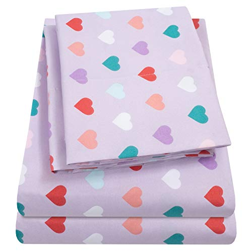 1500 Supreme Kids Bed Sheet Collection - Fun Colorful and Comfortable Boys and Girls Toddler Sheet Sets - Deep Pocket Wrinkle Free Hypoallergenic Soft and Cozy Bedding - Full, Hearts
