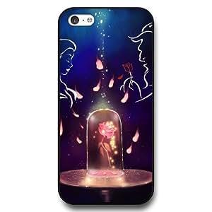 MMZ DIY PHONE CASEDisney Cartoon Beauty and The Beast, Hard Plastic Case for iphone 5c - Disney Princess iphone 5c Case Cover - Black
