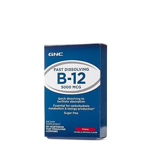 GNC B12 5000 Cherry 60 Vegetarian Fast Dissolving - Vitamins Gnc B-12