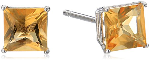 (10K White Gold Princess cut Citrine Stud Earrings, (5mm))