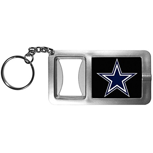 Siskiyou NFL Dallas Cowboys Split Ringer Flashlight Key Chain with Bottle Opener, Grey/Black