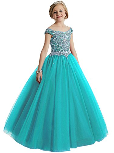 WZY Big Girls Beaded Floor Length Prom Party Gowns Pageant Dresses US 14 Turquoise-2 by WZY