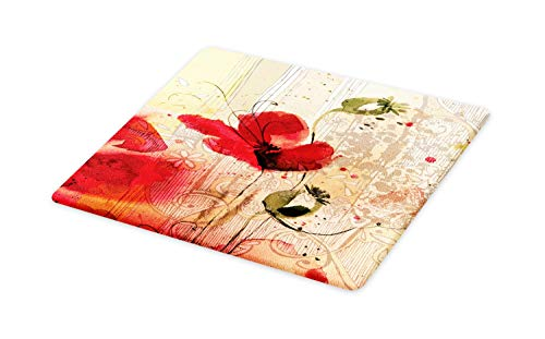 (Ambesonne Flower Cutting Board, Red Poppy Flower Paint Brush Effect Beige Floral Fabric Digital Art Print, Decorative Tempered Glass Cutting and Serving Board, Large Size, Red Peach and Beige)
