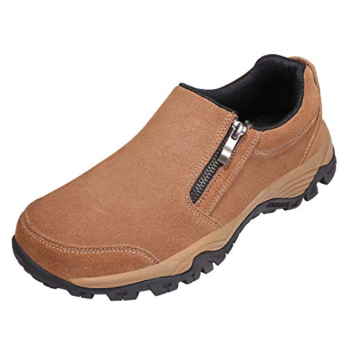 (Men's Suede Casual Shoes,Breathable Lightweight Zipper Slip On Sneakers, Hiking Shoes for Outdoor Trail Trekking (12 M US, Brown))