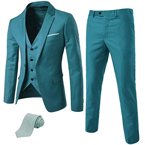 (MY'S Men's 3 Piece Suit Blazer Slim Fit One Button Notch Lapel Dress Business Wedding Party Jacket Vest Pants & Tie Set Green)