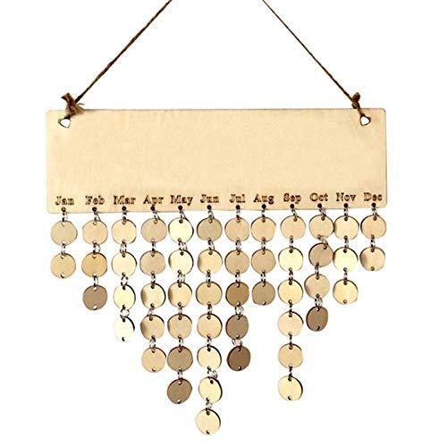 SODIAL Birthday Memorandum Reminder Wooden Hanging DIY Calendar Plaque Board Home Party Decoration - Wright Pendant Light 3