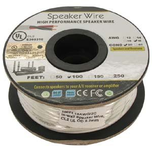 100Ft 18AWG/2C In-wall Speaker Wire, OFC CL2 UL OD-6.2mm White Jacket (Center Cable Biwire Speaker Channel)