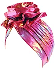 ZOOMY Kvinnor metallisk regnbåge turban hatt blomma afrikansk huvudbonad hårmössa