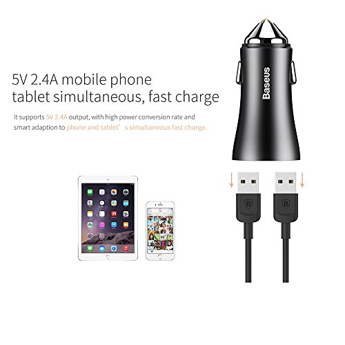 Price comparison product image Skynow 2-Ports 2.4A USB Car Charger, PowerDrive 2 for iPhone 7 / 6s / Plus,  iPad Pro / Air 2 / mini,  Galaxy S7 / S6 / Edge / Plus,  Note 5 / 4,  LG,  Nexus,  HTC and More (Black)