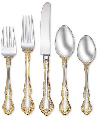 Oneida Gold Accent - Oneida Golden Mandolina 45-Piece Flatware Set, Service for 8