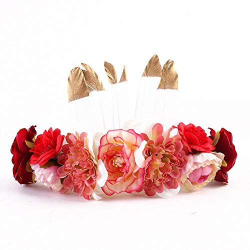 Lijuan Qin Retro Bohemia Feathers Flower Crown Headband, Floral Crown Garland Headpiece, Flower Wreath Headband for Mom Daughter Hair Bands Children -