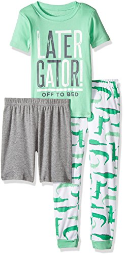 Carter's Boys' Big' 3-Piece Cotton Pajamas, Leather Gator, 5