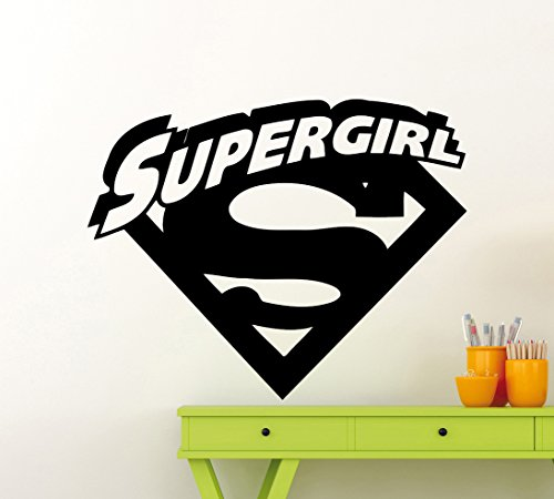 Supergirl Logo Wall Decal DC Marvel Comics Superhero Vinyl Sticker Home Nursery Room Interior Art Decoration Any Kids Girl Room Mural Waterproof Vinyl Sticker (394xx)
