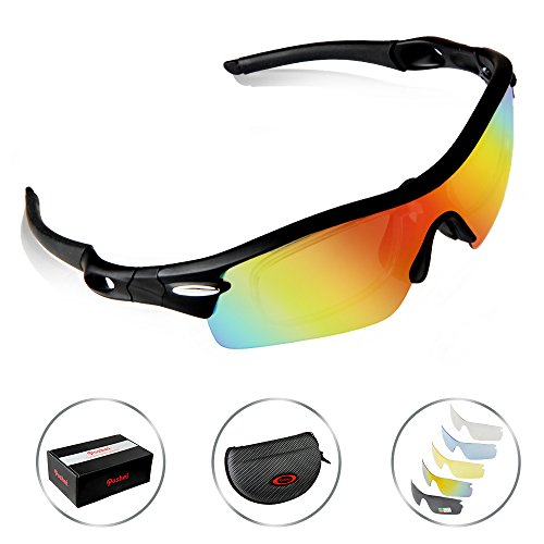POSHEI P03 Polarized UV Protection Sports Glasses for Men or Women , Cycling Wrap Sunglasses with 5...