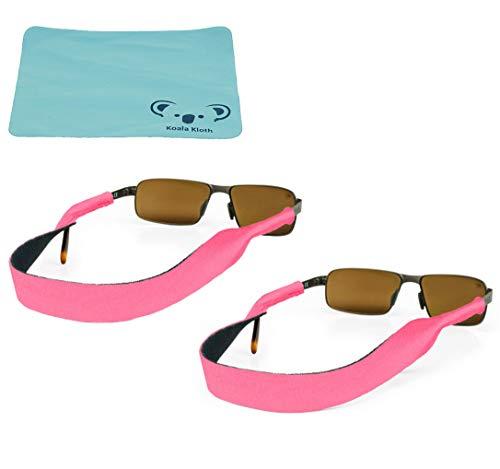 Croakies Original Neoprene Eyewear Retainer Sunglass Strap Band | Eyeglass & Sports Glasses Holder Keeper Lanyard | 2pk Bundle + Cloth, Pink