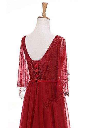 A Floor Wedding Gown Evening Length Dresses Prom Classical Line Sleeves Burgundy Sunvary HwxX4X