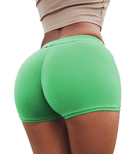 Estivo Pants Shorts Sexy Tinta Hot Skinny Unita Fluorescente Donne Verde tSrSpW0U1