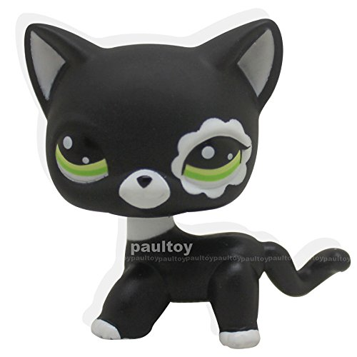 Catzaashop Littlest Pet Shop RARE Black Short Hair Cat kitty Animal Figure Toy LPS #2249