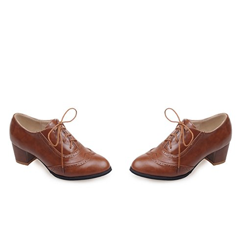 Oxfords Up Womens Heels 10 High Brown Leather PU Size5 Pumps Lace Novel Oxfords Wingtip Harp Dress 5 TSqzTw70