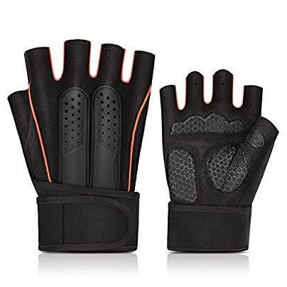 DYEWD New fitness wristband half finger gloves 100 waterproof gloves windproof and breathable suitable for outdoor sports rock climbing costumes driving motorcycle camping etc orange Estimated Price £18.62 -