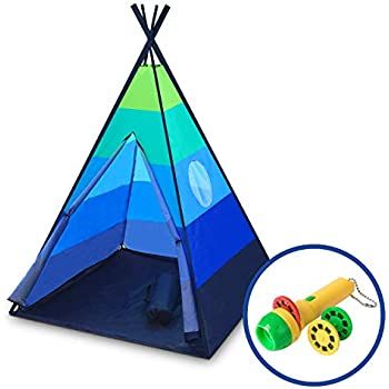 Teepee Tent for Kids - Happy Hut Kids Play Tent for Boys or Girls, Indoor Outdoor Portable Childrens Play Tent w/ Safari Projector and Tote (Blue)