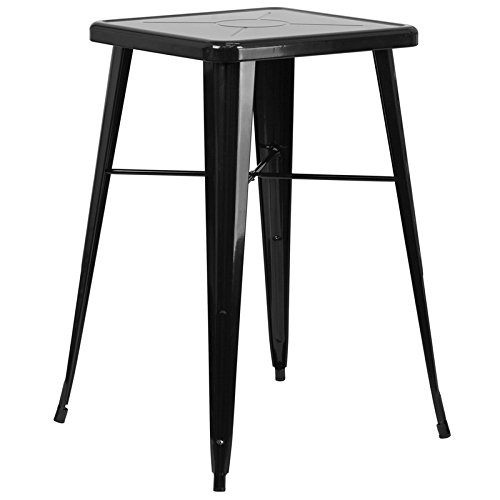 SuperDiscountMall Premium Quality Black Square Bar Height Table CH-31330-BK-GG by SuperDiscountMall