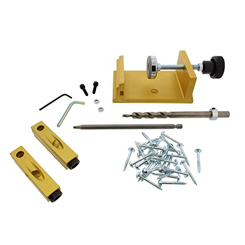 DCT Pocket Hole Jig Clamp Joinery System 42-Piece Kit for Corner, Angle, Flush Pocket Hole Joints – Hand Screw Clamping