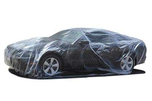 Plastic Car Covers for Automobiles (Pack of 5) Disposable Cover w/ Elastic Band - Universal 12' x...