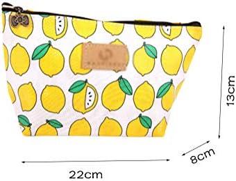 トラベルトイレタリーポーチ防水ファブリックプリントメイクアップ化粧品化粧品バッグポータブルジッパー付き単層クラッチバッグ、4個