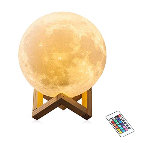 16 Color 3D Moon Lamp,Unpopular Night Light with Remote Control with USB Rechargeable Decorative Lights Nursery Girls Kids Light(5.9inch-16 Color) by UNPOPULAR