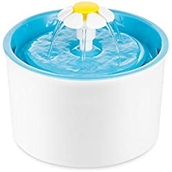 TOPCHANCES Year End Deals Automatic Cat Dog Flower Water Fountain Pet Drinking Water Bowl (Blue)(Silicone Pad Not Include )