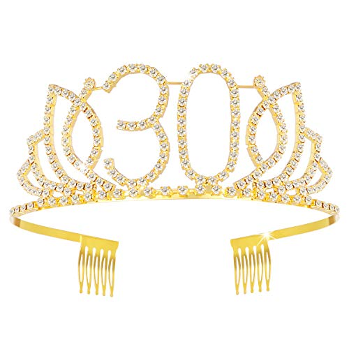 Frcolor 30th Birthday Tiara Crystal Rhinestone Women 30th Birthday Crown with Combs (Gold) (30 Bday Crown)