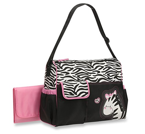 Baby Boom Animal Print Collection - Safari Zebra Print Pink Diaper Duffel Bag for Girls- Large, Roomy Bag, with Wipeable Diaper Changing Pad - Great for (Zebra Print Baby)