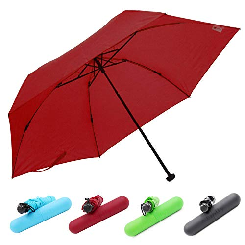 Tube Case Shaft Burgundy (Windproof Totes Mini Umbrella - World's Lightest Folding Parasol Weights Only 3 oz by A.Brolly (TUBE Burgundy))
