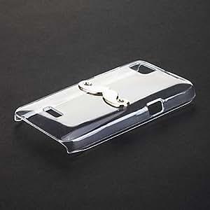 White Mustache Pattern Transparent Plastic Hard Back Case Cover for Moto XT303/305