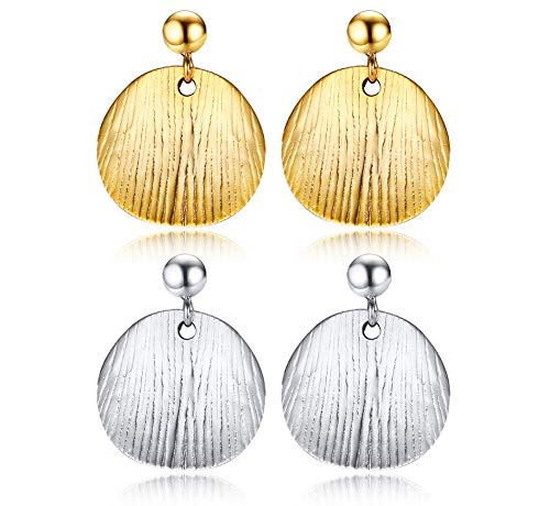 2 Pairs Tiny Gold or Silver Disc Earrings Brushed Coin Earrings Mini Dangle Earrings Minimalist Everyday Simple Earrings - Brushed Silver Disc