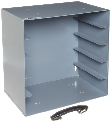 Durham 291-95 Gray Cold Rolled Steel Rack for 5 Large Plastic Compartment Boxes, 13-1/2'' Width x 13-1/4'' Height x 9-1/8'' Depth by Durham