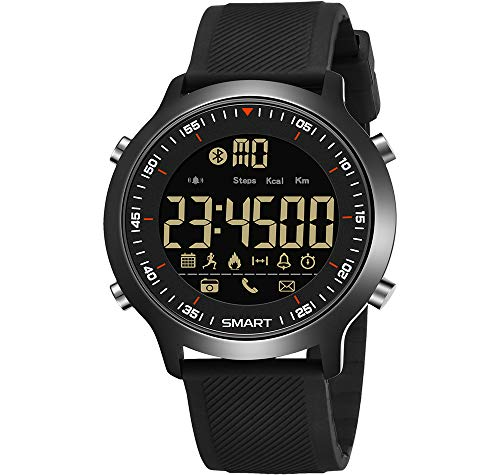 (Mens Digital Wrist Watch,IP68 Waterproof Sports Multifunction Electric Fitness Tracker with Bluetooth Call SMS Notification Pedometer Calorie Remote Camera Stainless Steel Buckle Strap Smartwatch)