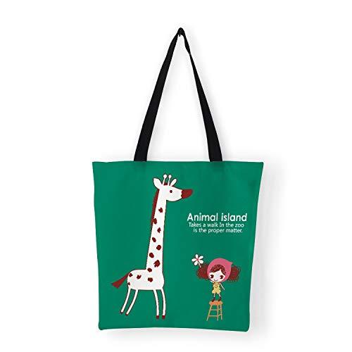 Bags Women Bag Cute Cartoon Animal Peacork Elephant Print Canvas Bag for Shopping Traveling School,A10]()