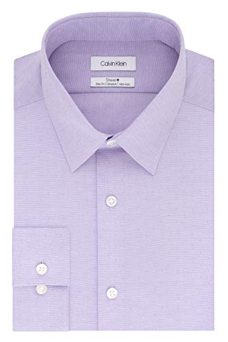 Calvin Klein Men's Dress Shirt Slim Fit Non Iron Stretch Solid, Grape, 18