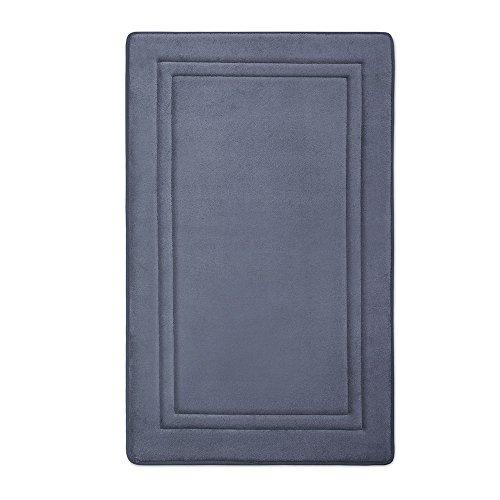 Microdry 10882 Quick Drying Memory Foam Bath mat with GripTex skid-resistant base, 21 x 34, Medium Blue